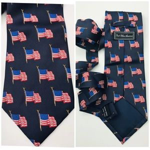 Mens Tie American Flag Silk Blue Red 4x57